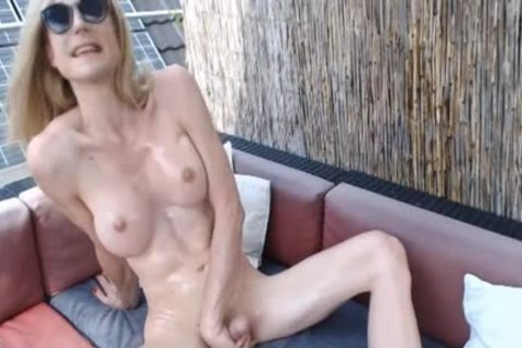 breasty lady-man Oiled Up And Strokes Her shlong
